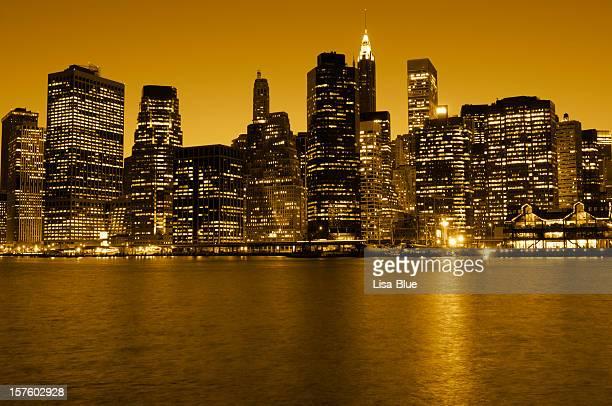 Lower Manhattan Skyline at Sunset,NYC.Toned Image