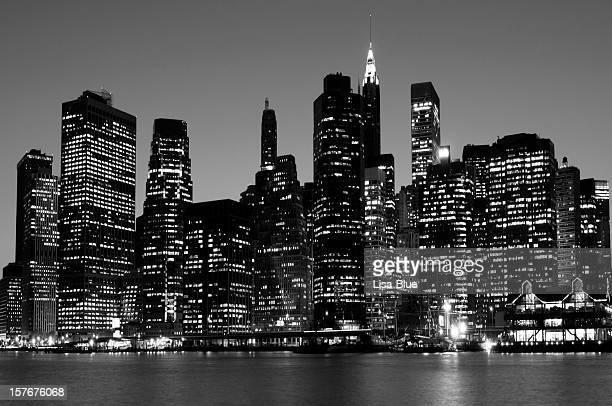 Lower Manhattan Skyline NYC Black And White