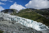 Lower part of Fox Glacier with lateral and terminal glacial moraines at New Zealands South Island