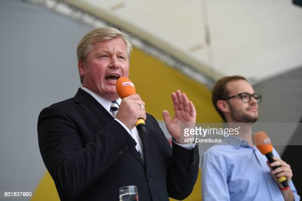 Lower Saxony's CDU prime minister and candidate Bernd Althusmann delivers his speech during an election campaign event of the Christian Democratic...