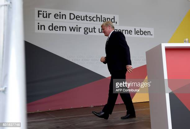 Lower Saxony's CDU prime minister and candidate Bernd Althusmann leaves the stage during an election campaign event of the Christian Democratic Union...