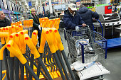 Lowe's customers pack their shopping carts with calcium chloride on January 22 2016 in the Brooklyn borough of New York NY New Yorkers began...
