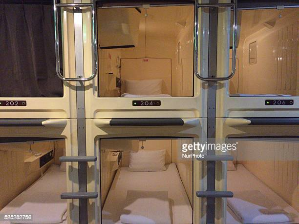 A lowpriced capsule hotel of Tokyo is seen on July 27 2015