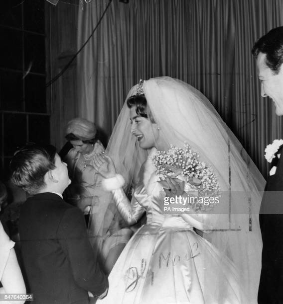 **Lowres scanned off print** Lady Pamela Mountbatten is congratulated by Prince Charles after her wedding to David Hicks at nearby Romsey Abbey Lady...
