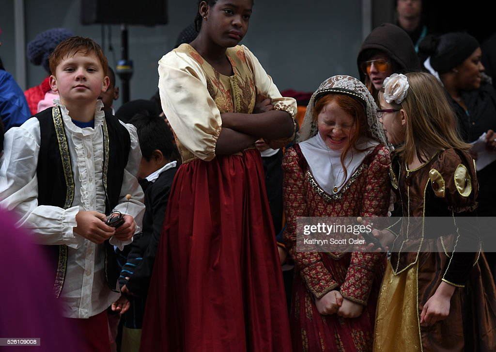 Lowry Elementary School students from left to right, Seann Carlson, 9, Bintou Diane, 11, Chloe McPhee, 10, and Payden Coffey, 8, perform The Comedy of Errors with their fellow students. Despite rain and snow, over 5,000 Denver Public School students participate in the 32nd annual Denver Public School Shakespeare Festival at the Denver Center for the Performing Arts Complex.The day-long festival hosts a forum for students from Kindergarten through 12th grade to perform sonnets and scenes from the works of Shakespeare, as well as dance, vocal, and instrumental music of Shakespeare's time.
