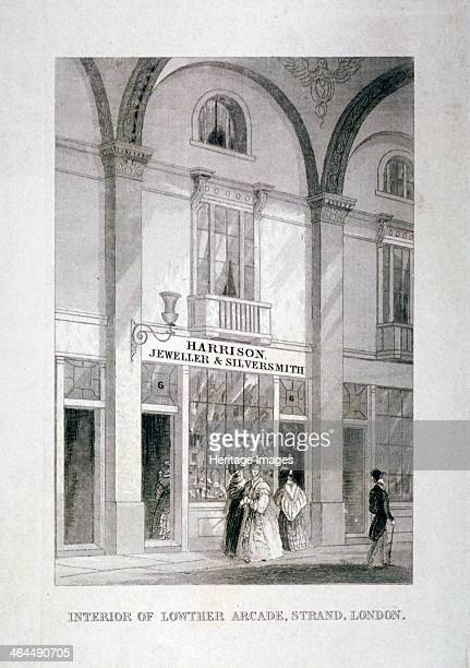 Lowther Arcade Strand Westminster London c1850 Interior view showing people in front of Harrison jeweller and silversmith