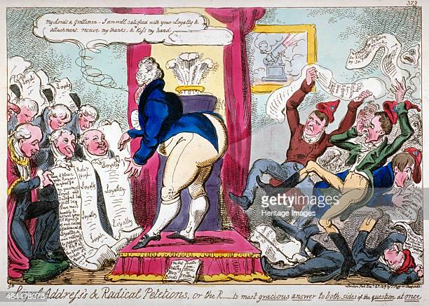 'Loyal Address's Radical Petitions or the Rts most gracious answer to both sides of the question at once' 1819 The Prince Regent standing on a dais...