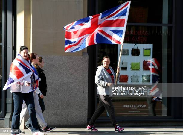 Loyalist flag protests in Belfast city centre after a protest at City hall as the prominent loyalist campaigner Willie Frazer involved in Union flag...