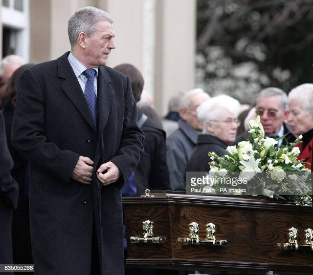 Loyalist leader Jackie McDonald at the funeral of Presbyterian cleric the Rev Roy Magee's in Dundonald on the outskirts of Belfast