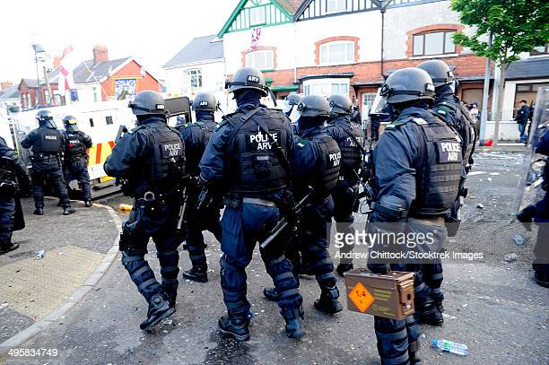 Loyalist protesters attack police lines at the Albertbridge Road in Belfast, Northern Ireland.