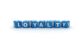 Loyalty Buzzword Cubes - White Background - 3D Rendering