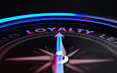 Arrow of a compass is pointing Loyalty text on the compass. Arrow, loyalty text and the frame of compass are metallic blue in color. Red light illuminating compass is creating a sense of tension. Blac
