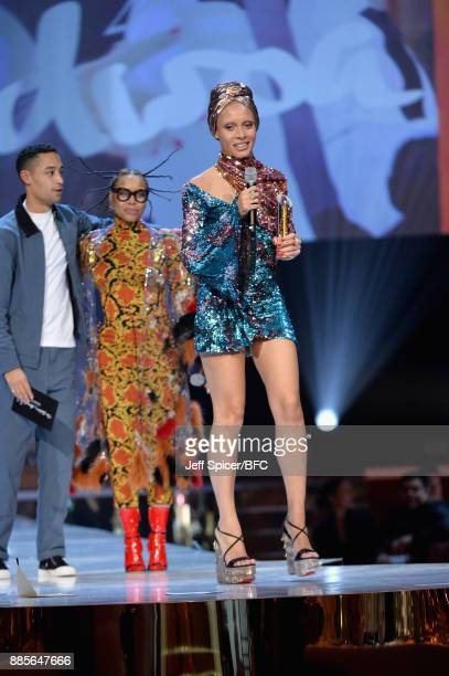 Loyle Carner Erykah Badu and winner of the award for Model of the Year Adwoa Aboah on stage at The Fashion Awards 2017 in partnership with Swarovski...