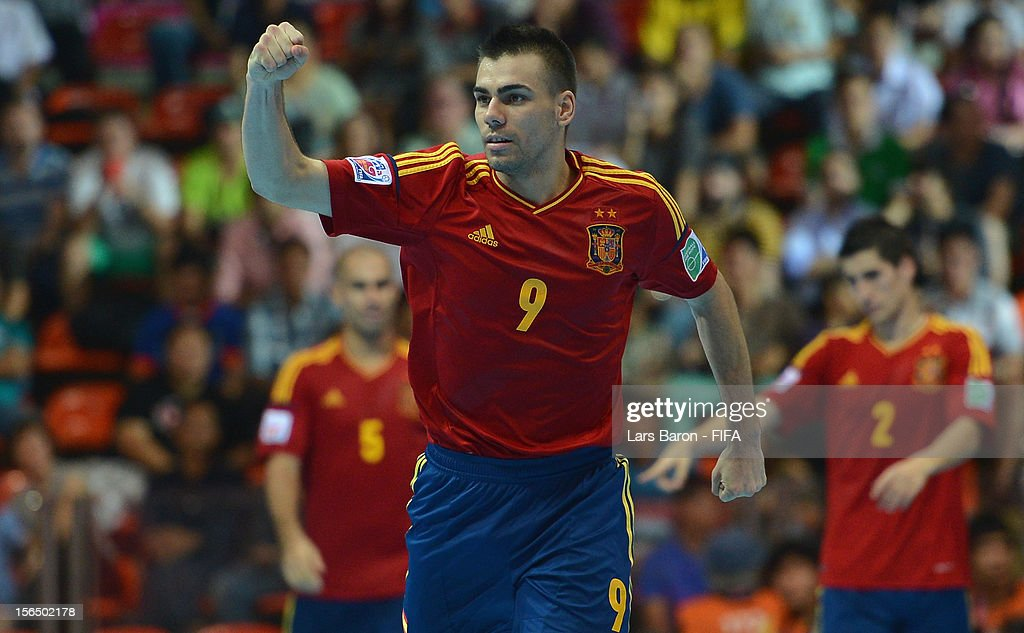 Lozano of Spain celebrates after scoring his teams third goal during the FIFA Futsal World Cup SemiFinal match between Italy and Spain at Indoor...