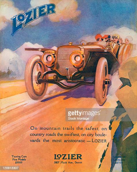 "A Lozier automobile dashing down a road is shown in a magazine advertisement from 1912 The ad states ""On mountain trails the safest on country roads..."