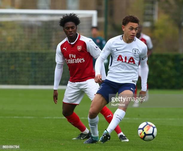 lr Aaron Eyoma of Arsenal and Luke Amos of Tottenham Hotspur during Premier League 2 Div 1 match between Tottenham Hotspur Under 23s against Arsenal...