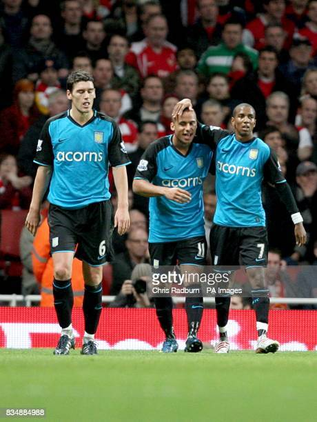 lr Aston Villa's Gareth Barry Gabriel Agbonlahor and Ashley Young celebrate after Arsenal's Gael Clichy scores an own goal