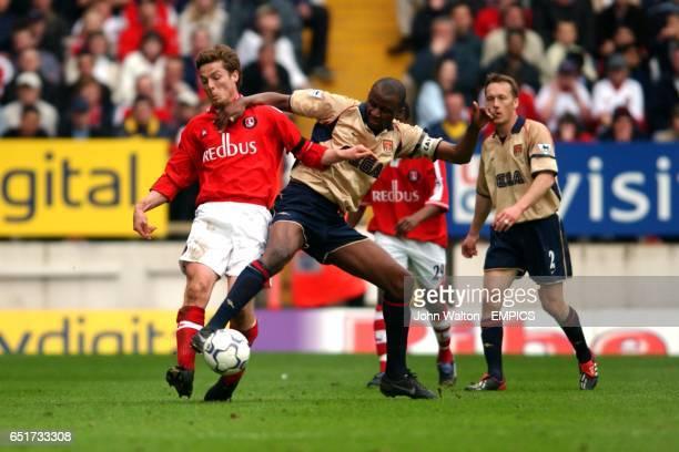 lr Charlton Athletic's Scott Parker tackle's Arsenal's Patrick Vieira