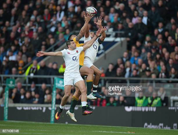 lR England's Jonny May England's Jonathan Joseph and Australia's Dane HaylettPetty during Old Mutual Wealth Series match between England against...