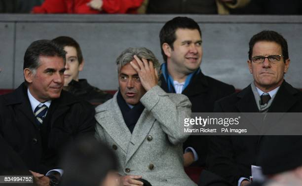 lr Former Manchester United asssistant manager now Portugal's coach Carlos Queiroz England general manager Franco Baldini and England manager Fabio...