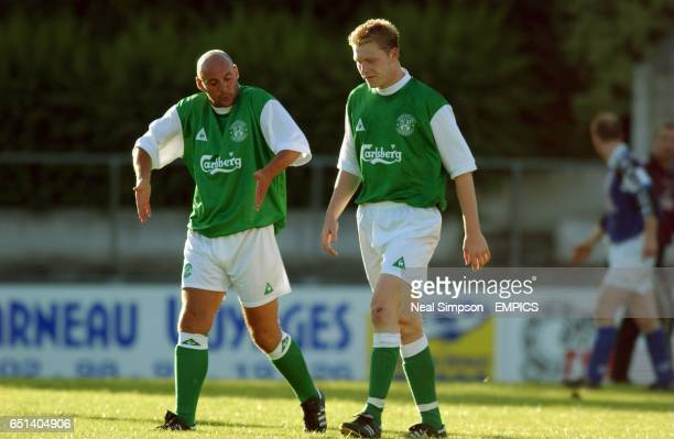 lr Hibernian assistant manager Andrew Watson shows goalscorer Gary O'Connor how he should have finished