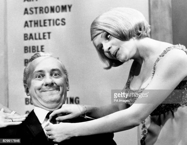 lr Hughie Green and Monica Rose on the set of 'Double Your Money'