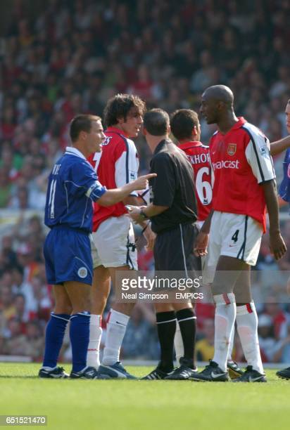 lr Leicester City's Dennis Wise tells Patrick Vieira to mind his own buisness before the pair of them head butt each other leading to both of them...