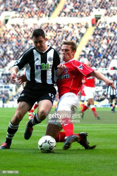 lr Newcastle United's Andrew Griffin battles for possession of the ball with Charlton Athletic's Scott Parker