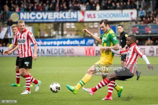 lr Rick van Drongelen of Sparta Rotterdam Mike Havenaar of ADO Den Haag Sherel Floranus of Sparta Rotterdamduring the Dutch Eredivisie match between...