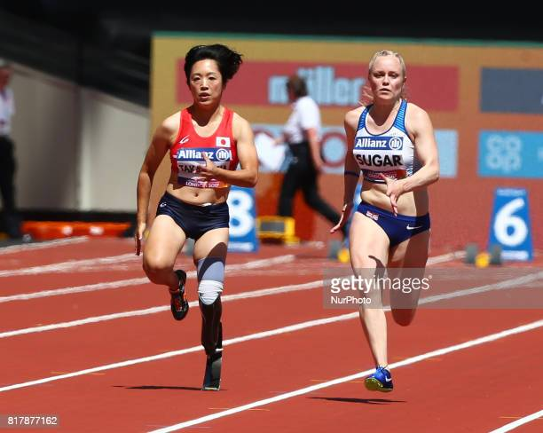 lr Saki Takakuwa and Laura Sugar compete in Women's 100m T44 Heat 2 during IPC World Para Athletics Championships at London Stadium in London on July...