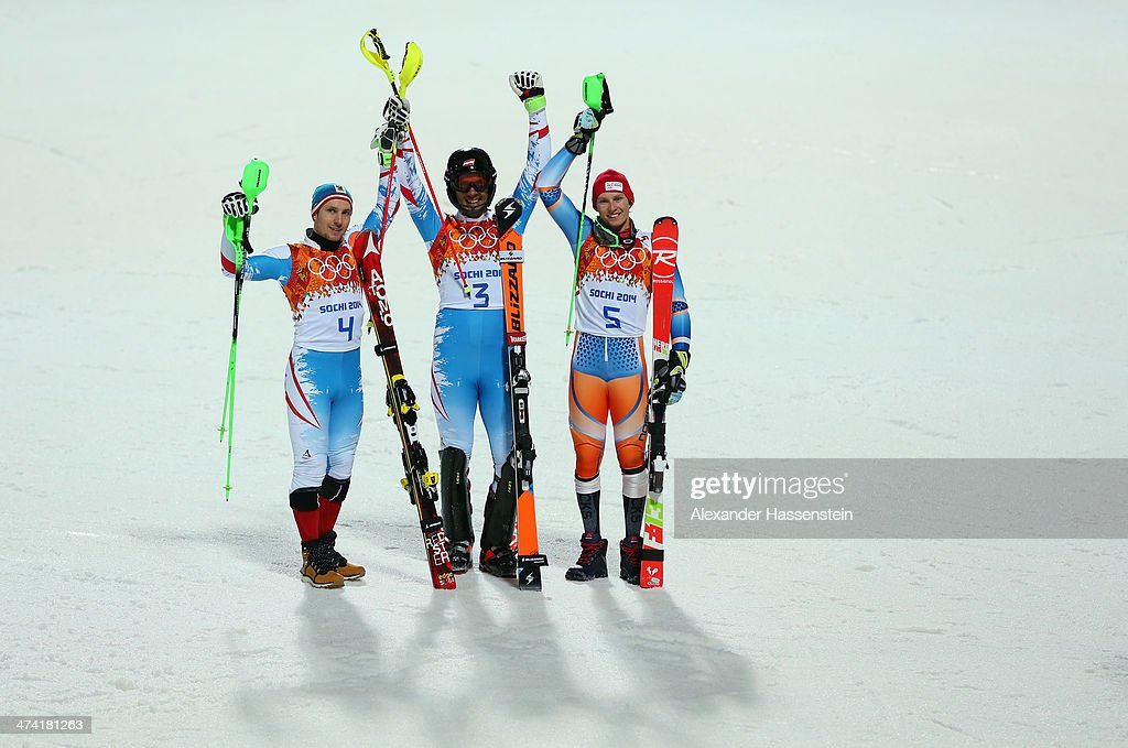 Silver medalist Marcel Hirscher of Austria, Gold medalist Mario Matt of Austria and bronze medalist Henrik Kristoffersen of Norway celebrate after the second round during the Men's Slalom during day 15 of the Sochi 2014 Winter Olympics at Rosa Khutor Alpine Center on February 22, 2014 in Sochi, Russia.