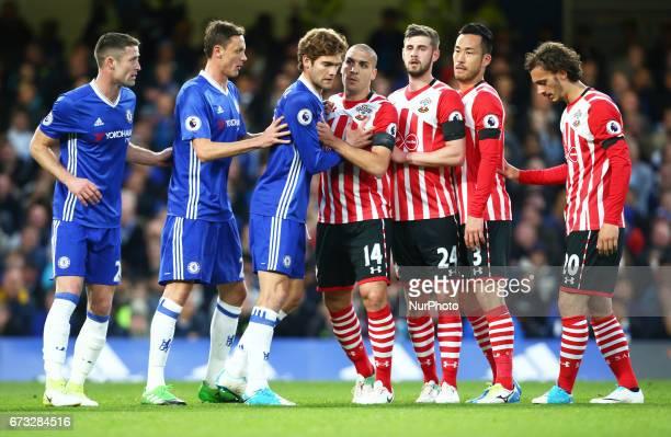 LRChelsea's Gary Cahill Chelsea's Marcos Alonso Chelsea's Nemanja Matic Southampton's Oriol Romeu Southampton's Jack Stephens Southampton's Maya...
