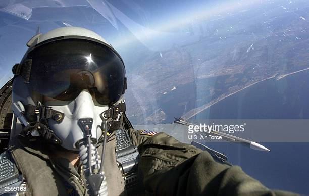 Lt Col David R Stilwell of the 77th Fighter Squadron 20th Fighter Wing Shaw Air Force Base South Carolina flies a F16 CJ Fighting Falcon during a...