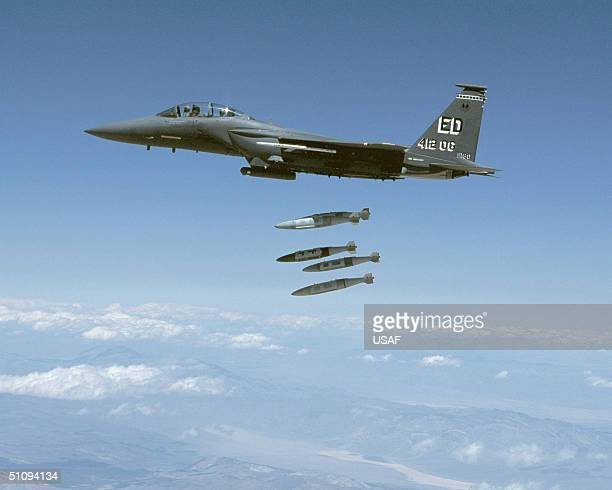 Lt Col Troy Fontaine A Test Pilot From The Air Force Flight Test Center And Maj Kevin Steffenson A Weapons System Officer Drop Five Mk84 Joint Direct...