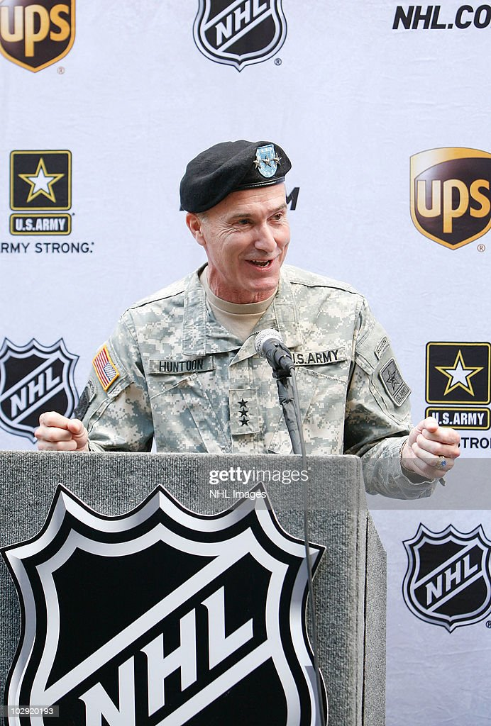 Lt. Gen. David Huntoon, Jr. speaks at the NHL, UPS & U.S. Army Street Hockey Equipment Donation To Troops In Iraq event at the NHL Powered by Reebok Store on June 7, 2010 in New York.