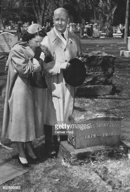 Lt Gen John C H Lee and his niece Mrs Josephine Lee McCarthy of Great Falls Mont are shown at Fairmount cemetery after Lee fulfilled his wife's...