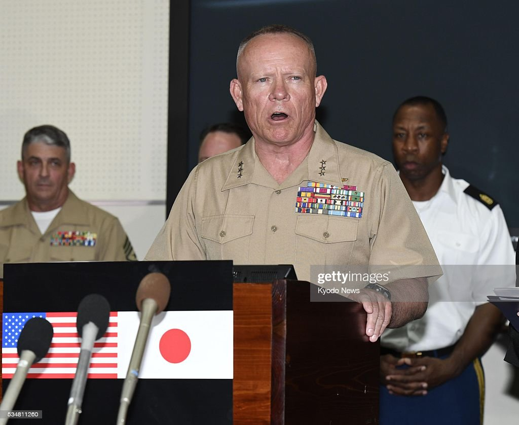 Lt. Gen. Lawrence Nicholson speaks at a press conference at Camp Foster in Okinawa Prefecture on May 28, 2016. The military commander expresses his shock and regret at the death of a 20-year-old Japanese woman, over which an American base worker, who is a former Marine, has been arrested, and explained measures to tighten discipline among U.S. forces.
