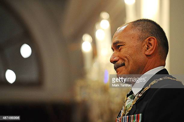 Lt Gen The Rt Hon Sir Jerry Mateparae GovernorGeneral during the Wellington Investitures Ceremony at Government House on September 10 2015 in...