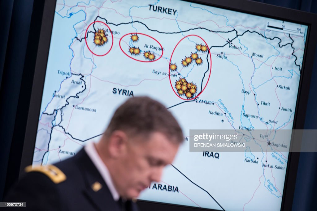 Lt Gen William C Mayville Jr Joint Staff Director of Operations Director of Operations speaks about airstrikes in Syria during a briefing at the...