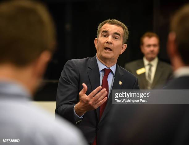 Lt Gov Ralph Northam Democrat speaks to reporters after participating in a gubernatorial debate with Republican candidate Ed Gillespie on September...