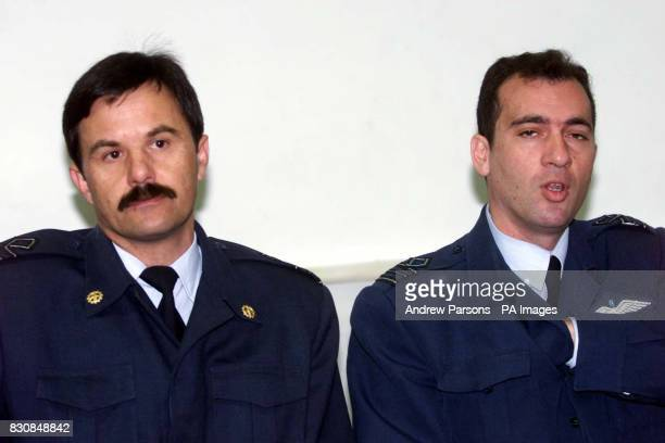 Lt Koumoundous Ioannis amd Squadron Leader Nektarios Samaras from the Greek air force at the courthouse in Kalmata Greece for the trial of the 12...