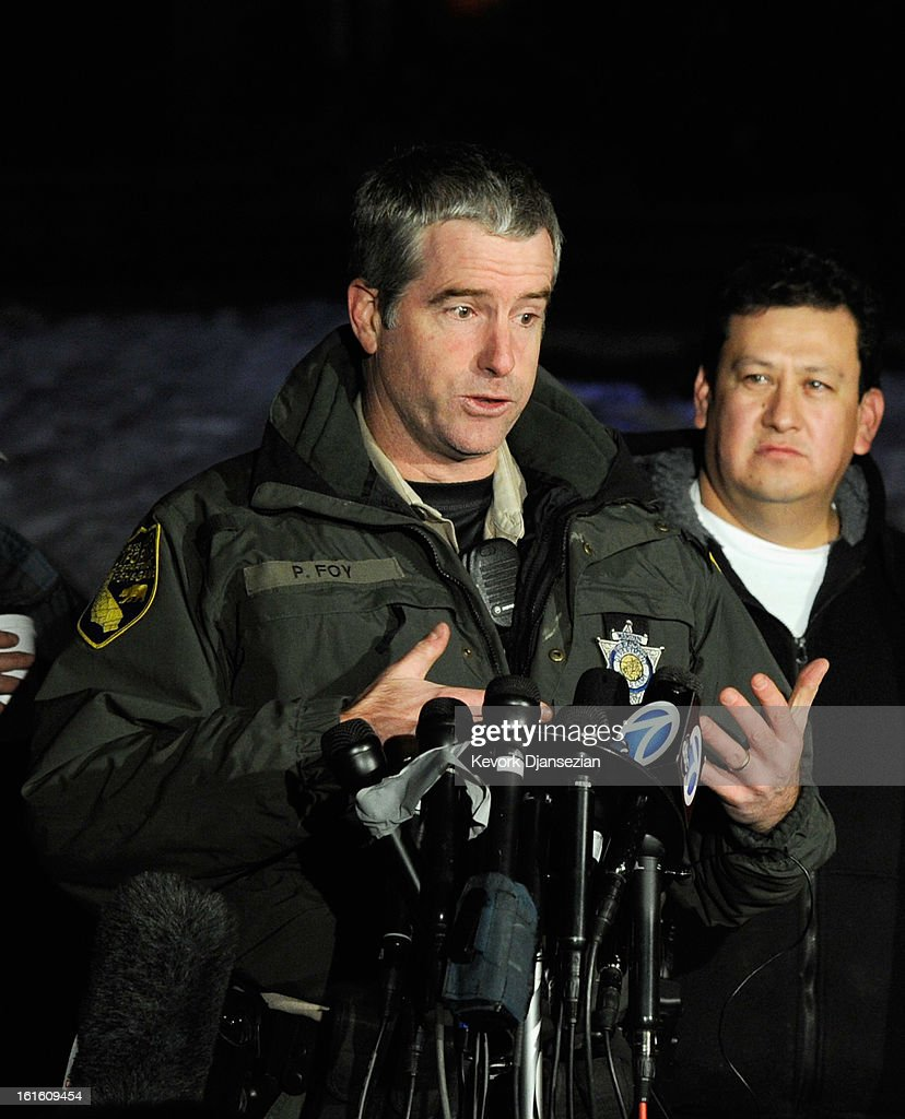 Lt. Patrick Foy, with the State of California Department of Fish and Game, updates the media after a standoff and a shootout with former Los Angeles Police Department officer Christopher Dorner who is suspected of triple murder on February 12, 2013 in Angelus Oaks, California. Dorner barricaded himself in a cabin near Big Bear, California which later caught fire. According to the LAPD the cabin remains too hot to enter and a body has not been located.