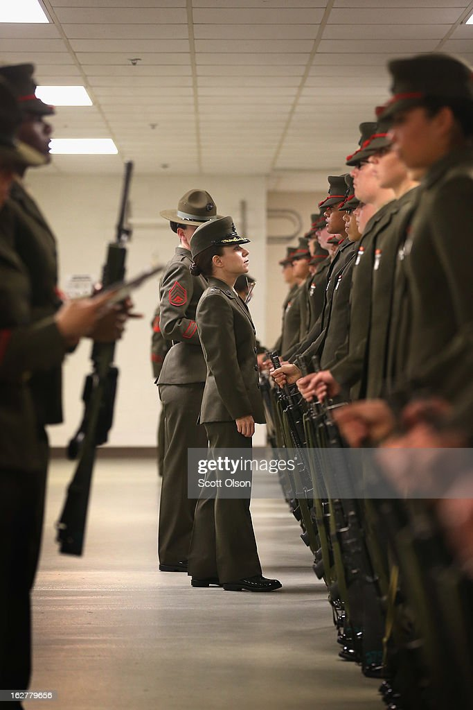 LtCol. Gabrielle Hermes inspects Female Marine recruits under her command and nearing their graduation from boot camp on February 26, 2013 at MCRD Parris Island, South Carolina. Female enlisted Marines have gone through recruit training at the base since 1949. About 11 percent of female recruits who arrive at the boot camp fail to complete the training, which can be physically and mentally demanding. On January 24, 2013 Secretary of Defense Leon Panetta rescinded an order, which had been in place since 1994, that restricted women from being attached to ground combat units.