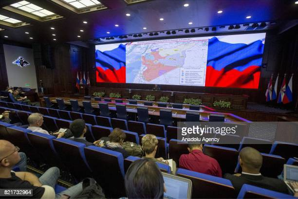 LtGen Sergei Rudskoy of the Russian Military General Staff speaks to the media in Moscow Russia on July 24 2017 Russia's General Staff says it has...