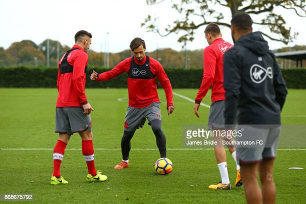 LtoR Dusan Tadic Manolo Gabbiadini and Jan Bednarek during training at Staplewood Complex on October 31 2017 in Southampton England