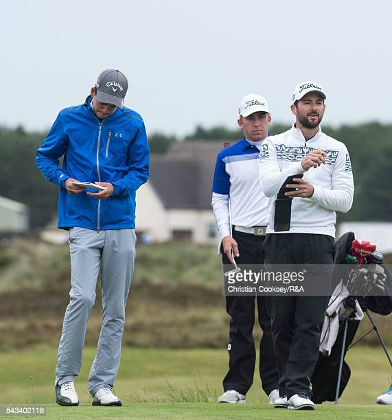 LtoR Jacob Oakley Oliver Lindell and Raphael Margery on the 15th tee at Gailes Links Golf Course on June 28 2016 in Irvine Scotland