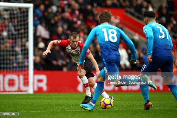 LtoR James WardProwse takes on Nacho Monreal Sead Kolasinac during the Premier League match between Southampton and Arsenal at St Mary's Stadium on...