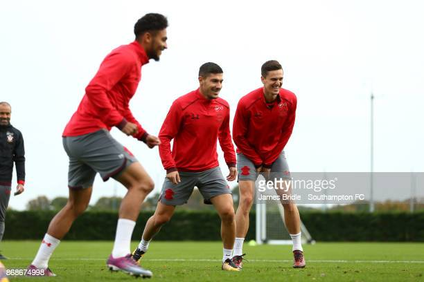 LtoR Sofiane Boufal Jeremy Pied and Florin Gardos during training at Staplewood Complex on October 31 2017 in Southampton England
