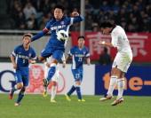 Lu Bofei of Jiangsu Sainty shoots the ball during the AFC Champions League match between Jiangsu Sainty and Buriram United at Nanjing Olympic Sports...