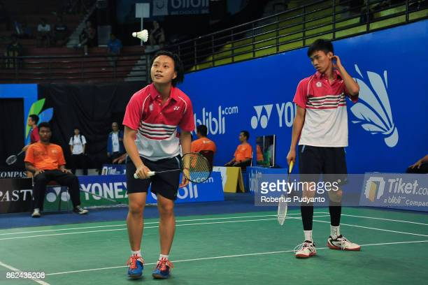Lu Chen and Lin Jhih Yun of Chinese Taipei compete against Iliyan Stoynov and Hristomira Popovska of Bulgaria during Mixed Double qualification round...